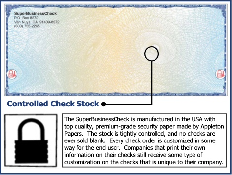 The SuperBusinessCheck is manufactured in the USA with top quality, premium-grade security paper made by Appleton Papers.