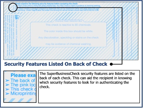 The SuperBusinessCheck security features are listed on the back of each check.  This can aid the recipient in knowing which security features to look for in authenticating the check.