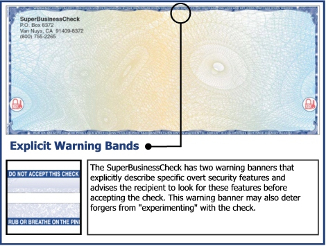 The SuperBusinessCheck has two warning banners that explicitly describe specific overt security features and advises the recipient to look for these features before accepting the check.